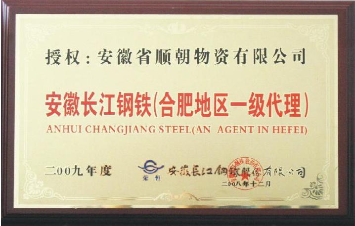 2009长江钢厂一级代理